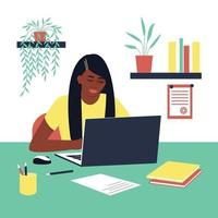 Student girl African American doing homework. A laptop and book are on the table. Concept for learning at home in isolation or doing homework. Flat vector illustration.