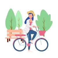 a Woman riding a bike in the Park vector