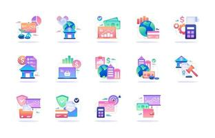 Financial and Business Gradient Style Icon vector