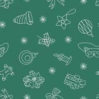 Seamless Christmas white pattern on a green background vector