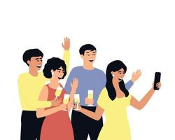amigos se toman una selfie en la fiesta vector