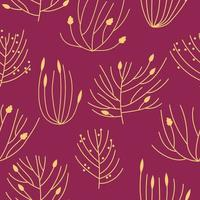 Seamless pattern beautiful autumn forest in line art style vector