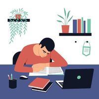 el estudiante se sienta en su escritorio y hace su tarea.