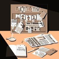 escritorio de un detective, investigador y trabajador del turno de noche vector