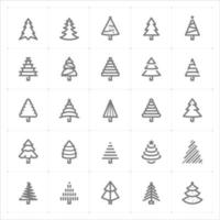 Christmas Tree line icons. Vector illustration on white background.