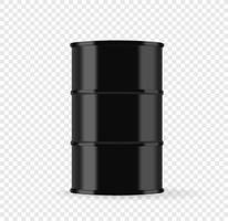 Black metal barrel with oil vector illustration