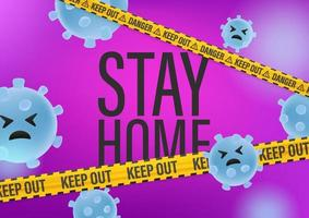 Stay home concept. Science abstract background with viruses vector