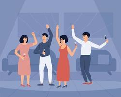 Un grupo de gente joven y feliz está bailando y sosteniendo copas de vino. vector