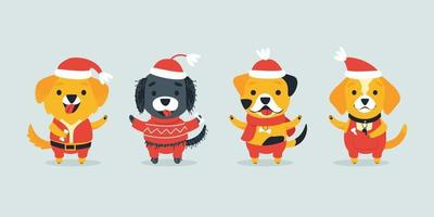 Set of cute dogs of different breeds in Christmas costumes vector
