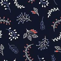 Seamless winter pattern of frozen branches and berries on a dark background vector