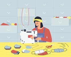 En el taller, una mujer cose máscaras de tela médica en una máquina de coser. vector