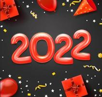 Happy new 2022 greeting card with red balloons and holiday accessories vector