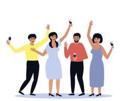 gran grupo de personas sociales sosteniendo copas de vino vector