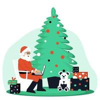 Cheerful Santa Claus with gifts near the Christmas tree receives emails vector