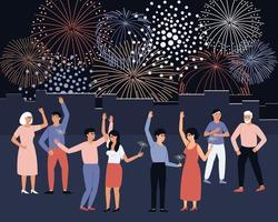 People celebrate fireworks in the city square vector