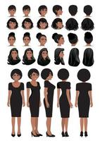 African American businesswoman cartoon character in black dress and different hairstyle for animation design vector collection