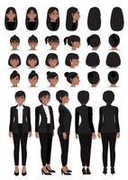 African American businesswoman cartoon character in black smart suit and different hairstyle for animation design vector collection