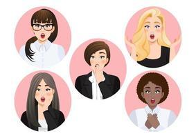 Set of surprised diverse businesswomen vector