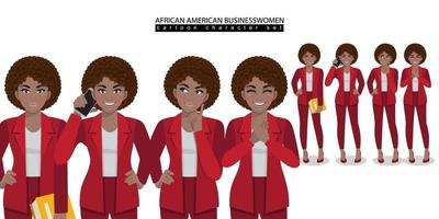 African American business woman cartoon character in different poses isolated vector illustration