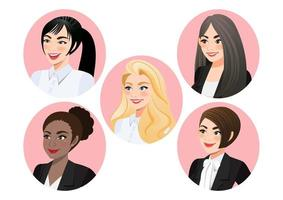 Set of business women faces in profile for pose 3-4 view character, Diversity. Avatars. Vector flat Illustration