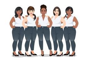 conjunto de mujer de talla grande en camisa blanca sin mangas y jeans parados juntos en vector de fondo blanco