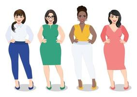 Cartoon vector beautiful plus size curved women in diverse fashion office wear, working women vector.