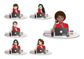Set of diverse businesswomen working on laptop vector illustration