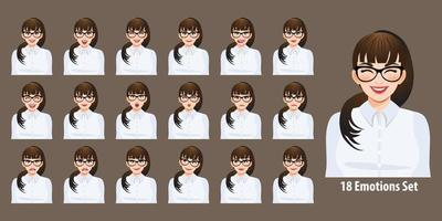 Plus size business woman in white shirt with different facial expressions set isolated in cartoon character style vector illustration