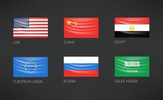 Waving flags vector set. USA, China, Egypt, European union, Russia, Saudi Arabia
