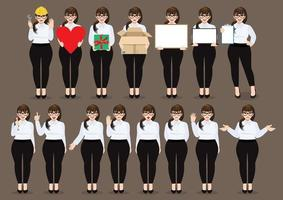 Plus size businesswoman cartoon character set. Beautiful business woman in office style white shirt. Vector illustration