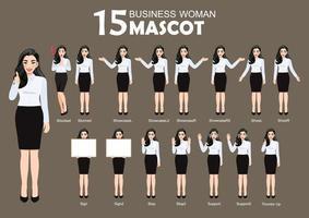 15 Business Woman Mascot, cartoon character style poses set vector illustration