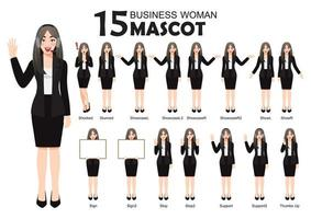 15 Business Woman Mascot in Black Suit, cartoon character style poses set vector illustration