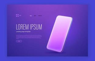 Modern trendy landing page with sample text and smartphone mockup vector