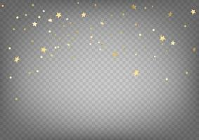 Golden confetti vector clipart. luxury flying gold confetti and stars isolated on transparent background