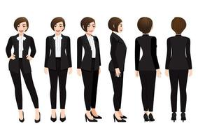 Cartoon character with business woman in black suit for animation. Front, side, back, 3-4 view character. Vector illustration