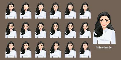 Beautiful business woman in white shirt with different facial expressions set isolated in cartoon character style vector illustration.