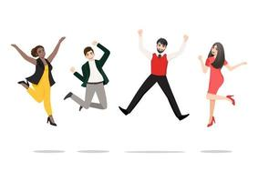 Businesspeople jumping celebrating victory. Cheerful multiracial people celebrating together. A diverse group of happy company team colleagues jumping. Flat vector winning characters collection