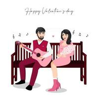 Cartoon couple sitting on vintage wood chair on white background vector