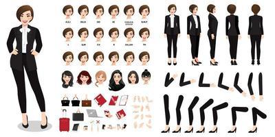 Personaje de dibujos animados de empresaria en la creación de traje negro con varias vistas, peinados, emociones faciales, sincronización de labios y poses. partes de la plantilla del cuerpo para el diseño vector