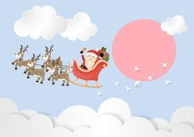 Merry Christmas and Happy New Year with Santa Claus and Reindeer Sleigh the sky in day time vector and illustration