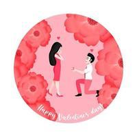 hombre de dibujos animados proponiendo a su novia sobre fondo de flores. vector