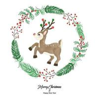 Merry Christmas and Happy New Year with Reindeer in plant wreath. Watercolor design on white background vector illustration