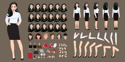 creación de personajes de dibujos animados de empresaria con varias vistas, peinados, emociones faciales, sincronización de labios y poses. partes de la plantilla del cuerpo para la animación. vector
