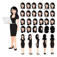 personaje de dibujos animados con mujer de negocios en vestido negro para animación. Carácter de vista frontal, lateral, posterior, 3-4. partes separadas del cuerpo. ilustración vectorial. vector