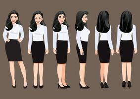 Cartoon character with business woman in white shirt for animation. Front, side, back, 3-4 view character. Vector illustration.