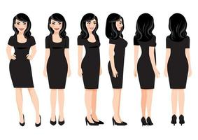 Cartoon character with business woman in black dress for animation. Front, side, back, 3-4 view character. Vector illustration.