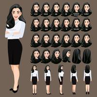Cartoon character with business woman in white shirt for animation. Front, side, back, 3-4 view character. Lip sync. Vector illustration.