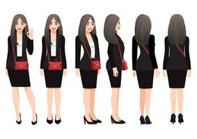 Cartoon character with business woman in black suit and shoulder bag for animation. Front, side, back, 3-4 view character. Vector illustration.
