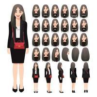 personaje de dibujos animados con mujer de negocios en traje negro y bandolera para animación. Carácter de vista frontal, lateral, posterior, 3-4. partes separadas del cuerpo. ilustración vectorial. vector