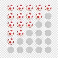 Soccer balls rating template isolated on transparent background vector